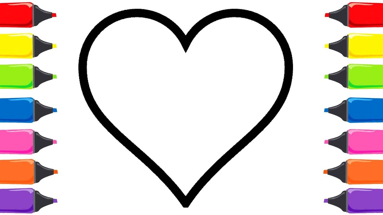 Kalp Boyama Sayfaları çocuklar Için Boyama Renkleri öğreniyorum