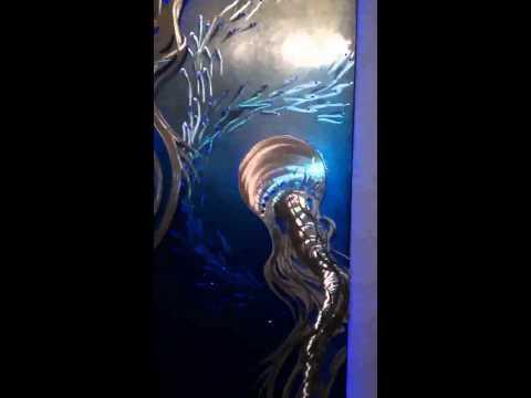 Jellyfish metal wall art, Luminescent Entities