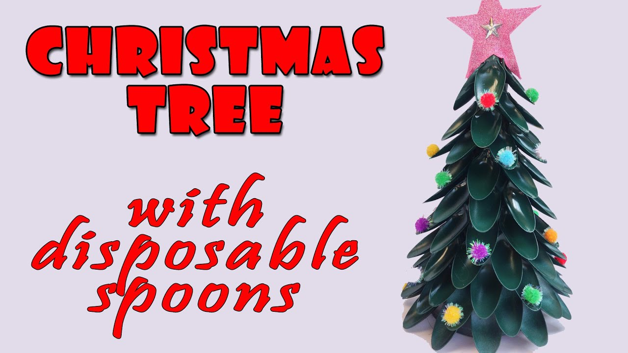 christmas tree with disposable spoons christmas crafts ideas