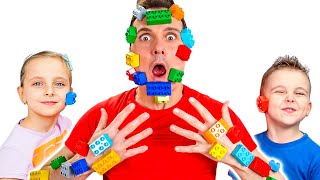 Pretend play Lego Hands by Fursiki show Lego face educational video