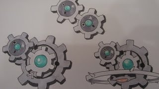 How to draw Pokemon: No.599 Klink, No.600 Klang, No.601 Klinklang