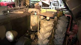 OLD TRACTORS. (PART 3) OLD FARM TRACTORS, FARM MACHINERY, STORED IN PRIVATE BARNS,