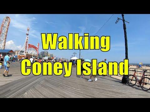 ⁴ᴷ Walking Tour of Coney Island Beach & Boardwalk, Brooklyn, NYC (Memorial Day Weekend) streaming vf