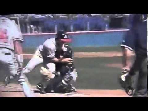 Walt Weiss Flattens Jim Leyritz 1998 NLCS Atlanta Braves San Diego Padres
