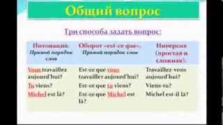 Обложка Французский язык Уроки французского 20 Вопросительное предложение Общий вопрос