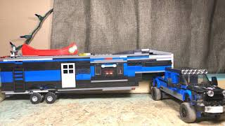 LEGO camper trailer hauled by ram 2500