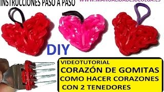 Repeat youtube video COMO HACER UN CORAZÓN DE GOMITAS CON DOS TENEDORES. VIDEO TUTORIAL DIY FIGURAS