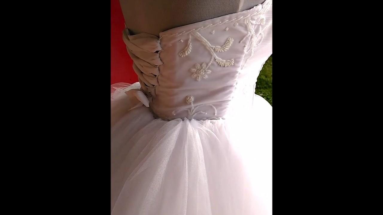 Vestido de novia en lino y tul - YouTube