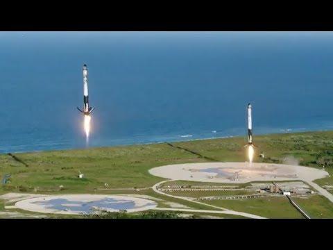 Запуск Falcon Heavy от SpaceX со спутником Arabsat-6A. Взлет и посадка. Русские титры
