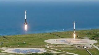 Запуск Falcon Heavy от SpaceX. Посадка ступеней. Русские титры