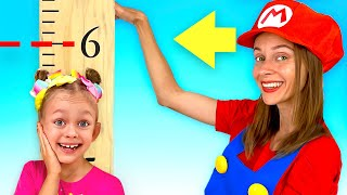 Baby wants to be higher to play inflatable trampoline | Maya and Mary Kids Songs