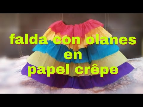9167d7323 Como hacer una falda con olanes en papel crêpe - YouTube