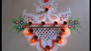 Diwali special easy and unique peacock rangoli design | Innovative rangoli designs by Poonam Borkar