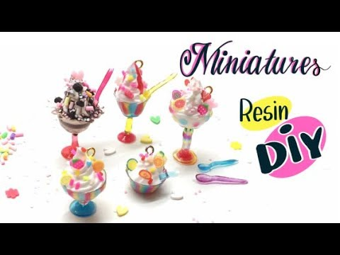 How to make miniature sundae cups without silicone molds- UV resin-  Ice cream charms