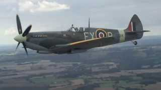 Spitfire flying over the White Cliffs of Dover