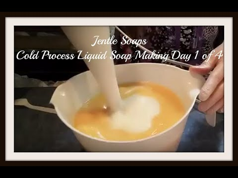 Cold Process Liquid Soap Making Step 1 with Recipe Jentle Soaps
