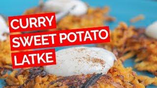 Curry Sweet Potato Latke Recipe With Maple Greek Yogurt