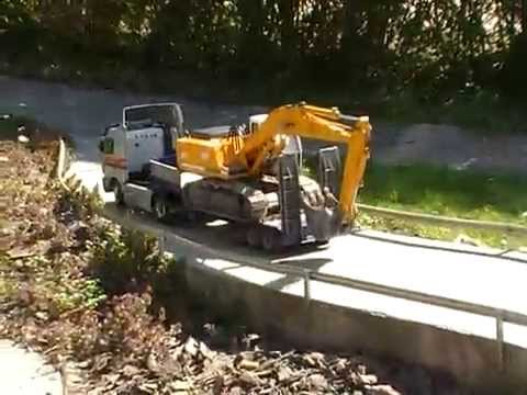 RC EXCAVATOR TRANSPORT!  NICE RC HYDRAULIC EXCAVATOR! RC LIVE ACTION TOYS1