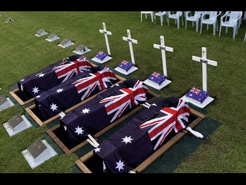 The military funeral service for the crew of RAAF Beaufort Bomber A9-217