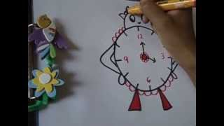 drawing for kids,,easy and funny clock drawing in simple steps