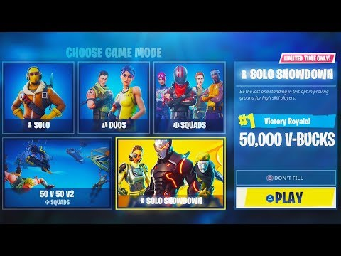 "NEW #1 ""Solo Showdown"" 50,000 FREE V-BUCKS GAME MODE in Fortnite! (NEW $10,000 Fortnite Tournament)"