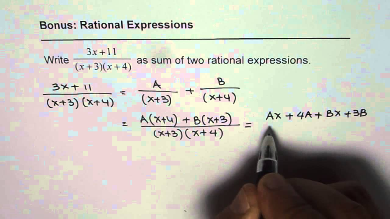 How To Break And Write Rational Expression As Sum Of Two Rational Expressions Youtube Addition of two rational expressions