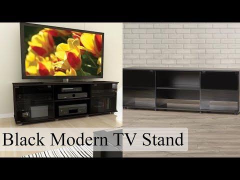 Black TV Stand Entertainment Center Media Console Storage Flat Screen Modern New
