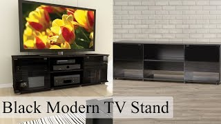 Black TV Stand Entertainment Center Media Console Storage Flat Screen Modern New
