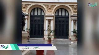 شاهد.. انهيار واجهة أوبرا الإسكندرية التاريخية