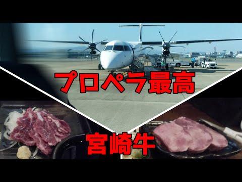 福岡空港~宮崎空港 プロペラ機レビュー、おまけ宮崎牛グルメ