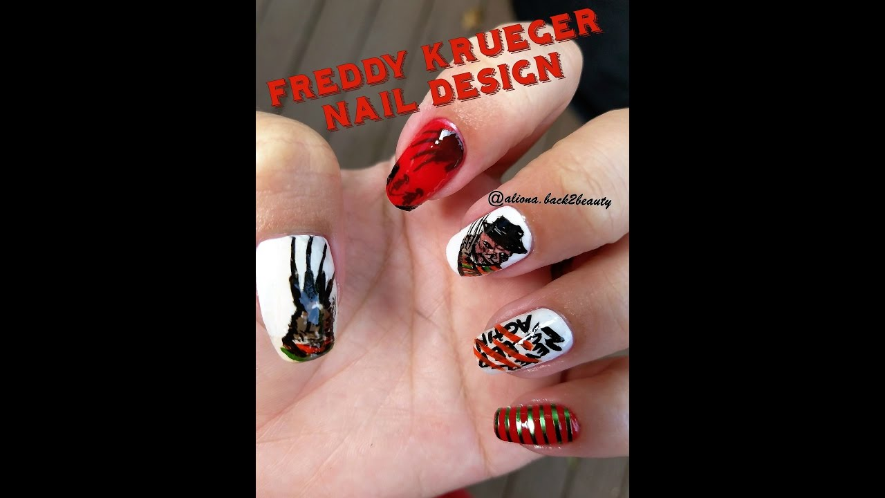 Freddy Krueger Inspired Nail Design/Hand Painted Halloween Nail ...