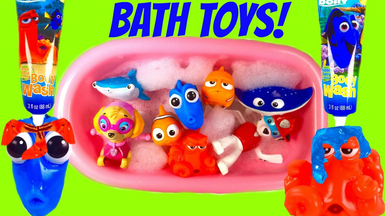 Finding Dory Bath Toys Soap and Bubbles! Bath Squirters & Paw Patrol ...