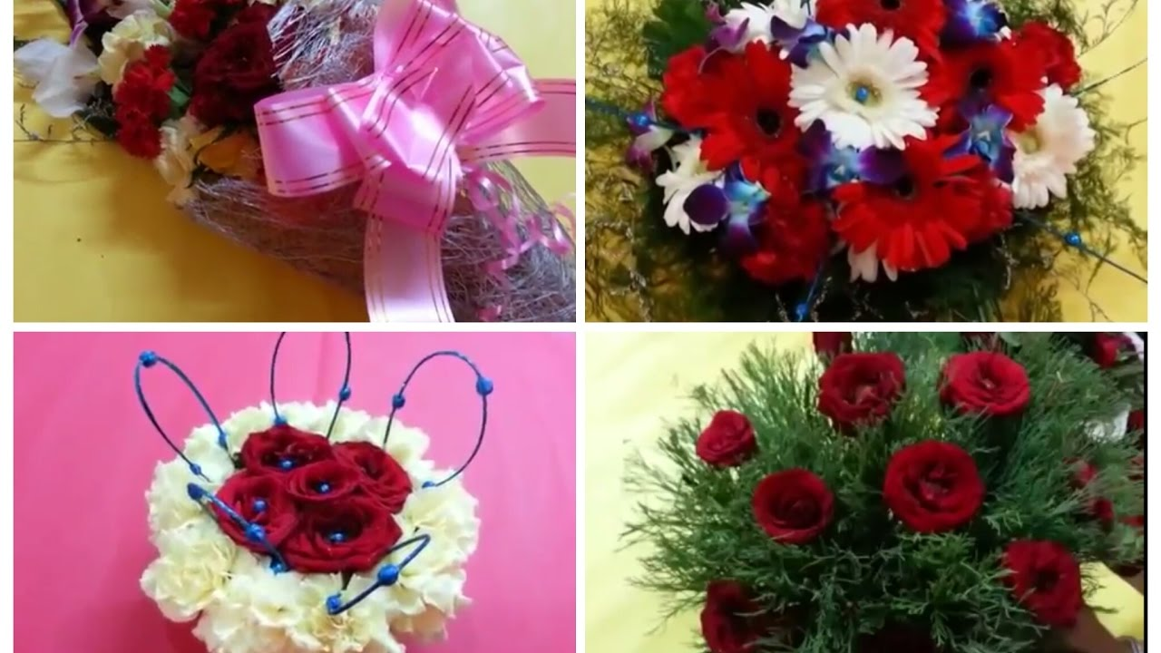 Diy 4 simple beautiful flower bouquets at home how to for Flower making at home