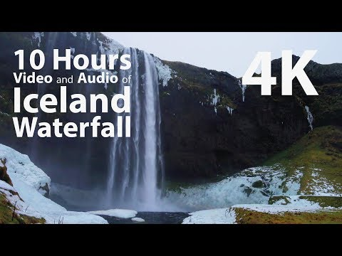 4K HDR 10 hours - Iceland Waterfall - relaxing, gentle, calming