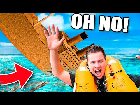 SINKING The Box Fort Titanic! Worlds Largest Cardboard Boat (24 Hour Challenge)
