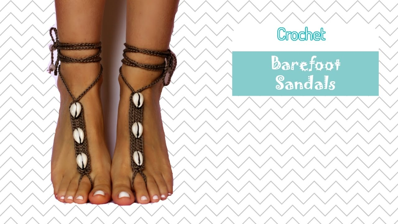 Coffee Bean Shell Barefoot Sandals Crochet Pattern Tutorial With