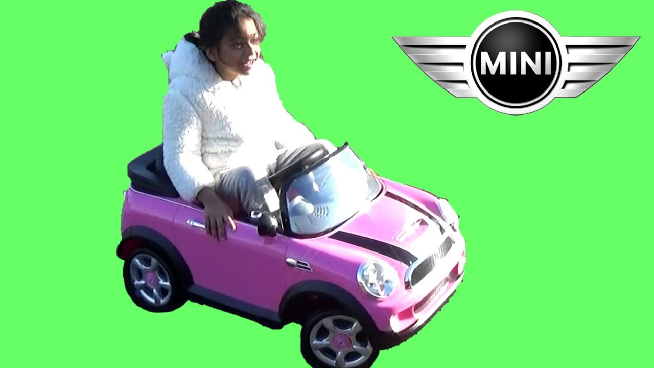 pink mini cooper ride on car test drive by kids fun toy playtime
