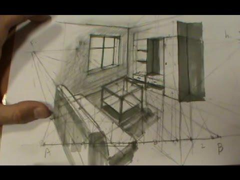 Habitaci n en perspectiva c nica por puntos de medida youtube - Habitacion en perspectiva conica ...