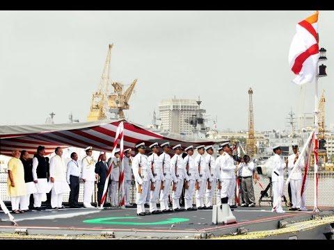 PM dedicates to the nation indigenously built warship INS Kolkata