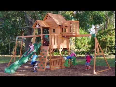 Backyard Discovery Somerset All Cedar Wood Playset Swing Set Youtube
