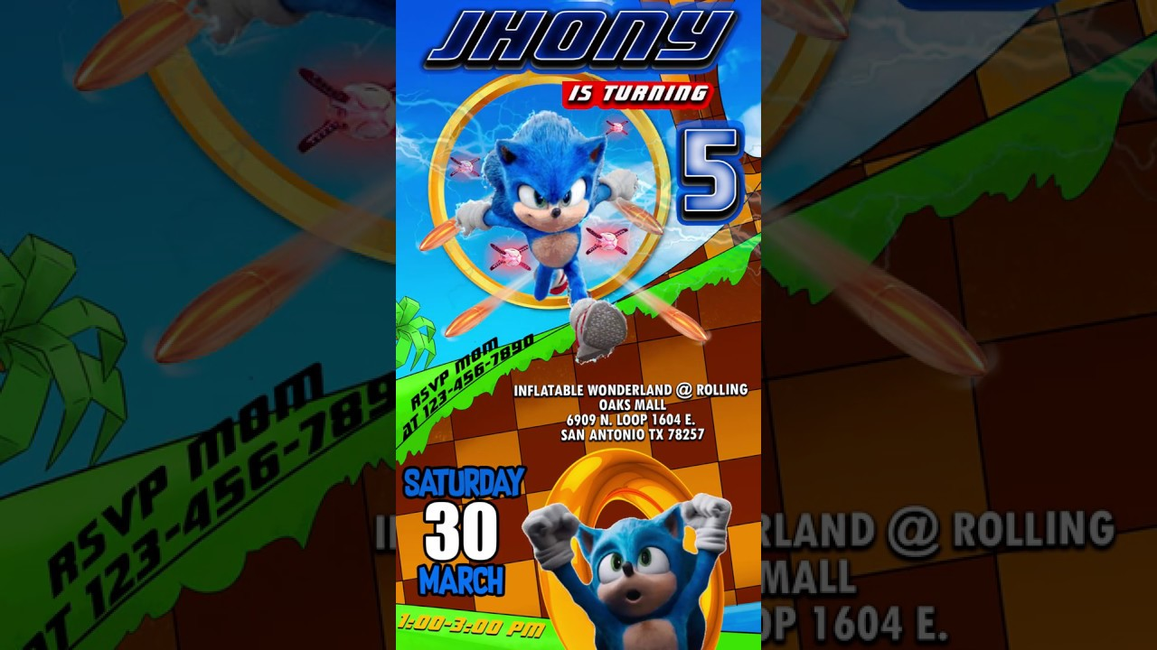 Sonic Birthday Invitation Video Animated Oscarsitosroom