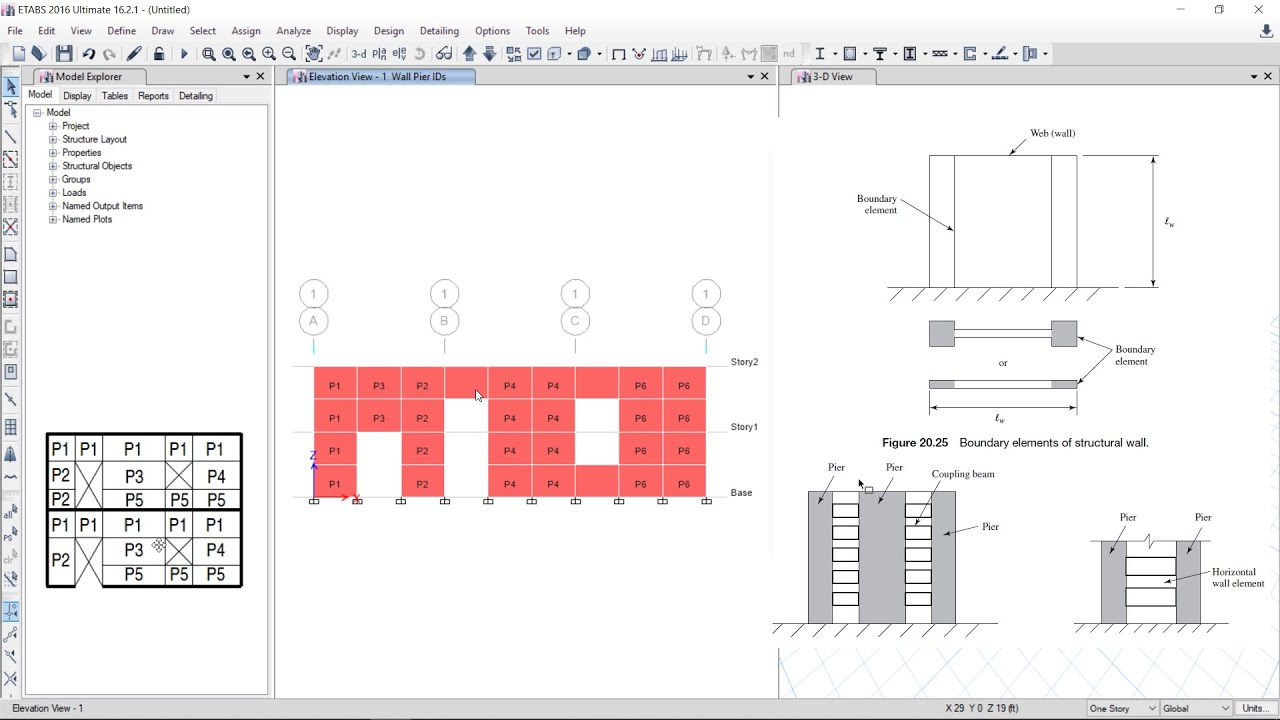 Csi Etabs 22 Shear Wall Design In Simplest Way Example 1 Youtube