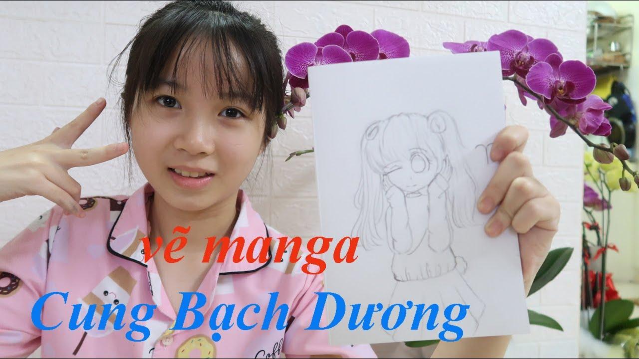 Vẽ Manga 12 cung hoàng đạo bằng bút chì | Cung Bạch Dương | bé CIU vẽ nàng Bạch Dương dễ thương nhất