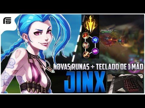 JINX ADC GAMEPLAY COM RITMO FATAL - JOGUEI COM TECLADO DE 1 MÃO - League of Legends - [ PT-BR ]