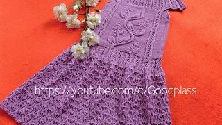 Платье,сарафан на девочку с кокеткой Часть 2 Вязание спицами.