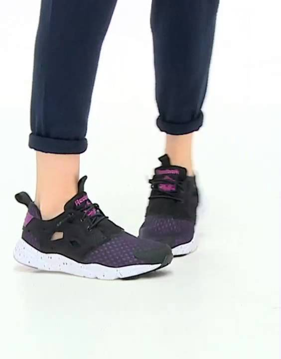 d4556b1b5854 Reebok Fury Lite Black   Purple Trainers - YouTube