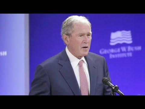 Former Presidents Bush, Obama speak against divisiveness