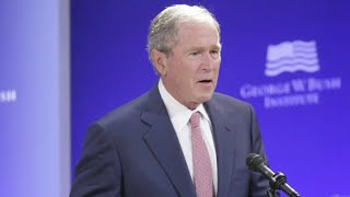 Former Presidents Bush, Obama speak against divisiveness