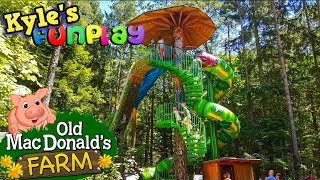 Kids Outdoor Playground with Huge Slides and Old Mac Donald's Farm - Fun Activities for Kids