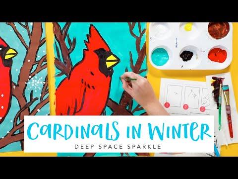 Paint an Easy Winter Cardinal | WINTER ART TUTORIAL thumbnail